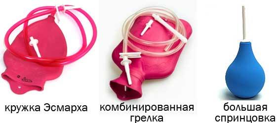 кружка Эсмарха, комбинированная грелка, спринцовка груша